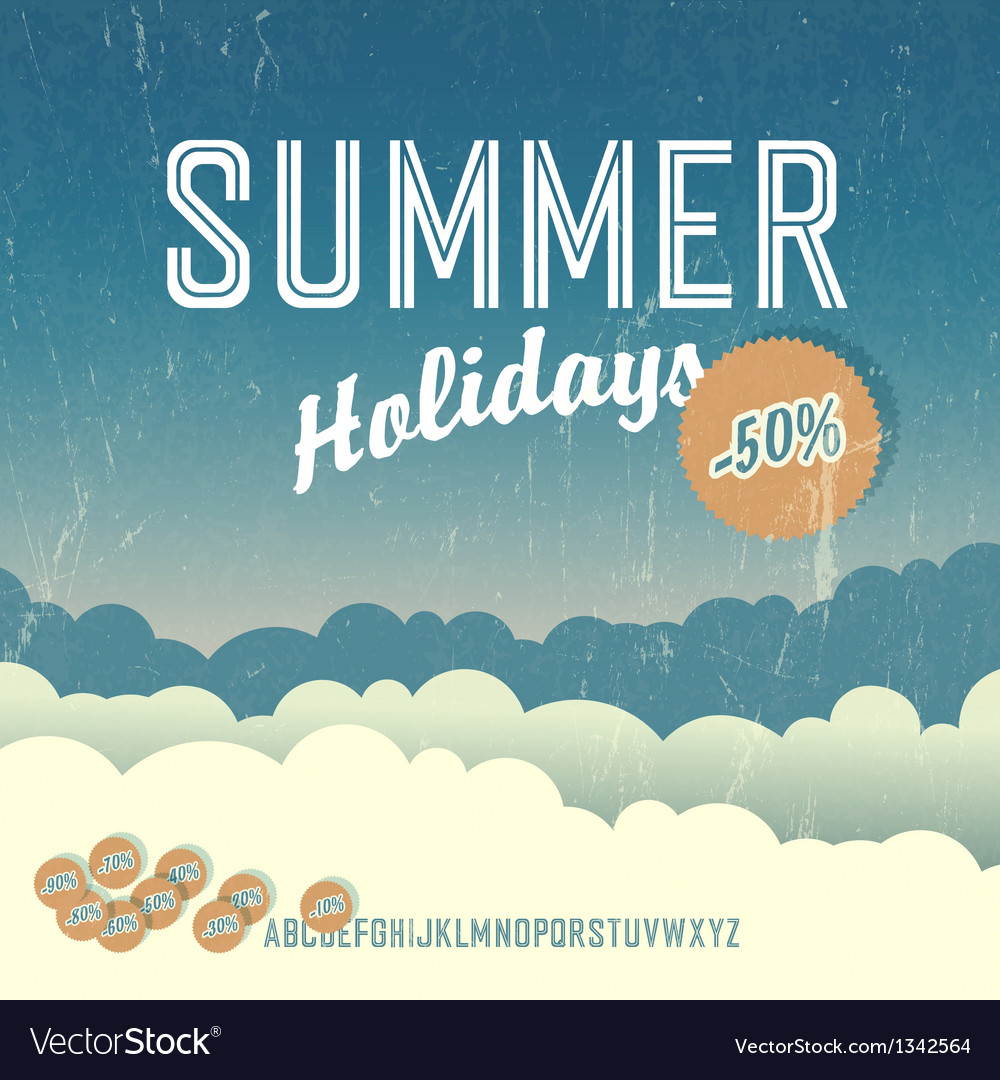Summer travel poster retro vector | Price: 1 Credit (USD $1)