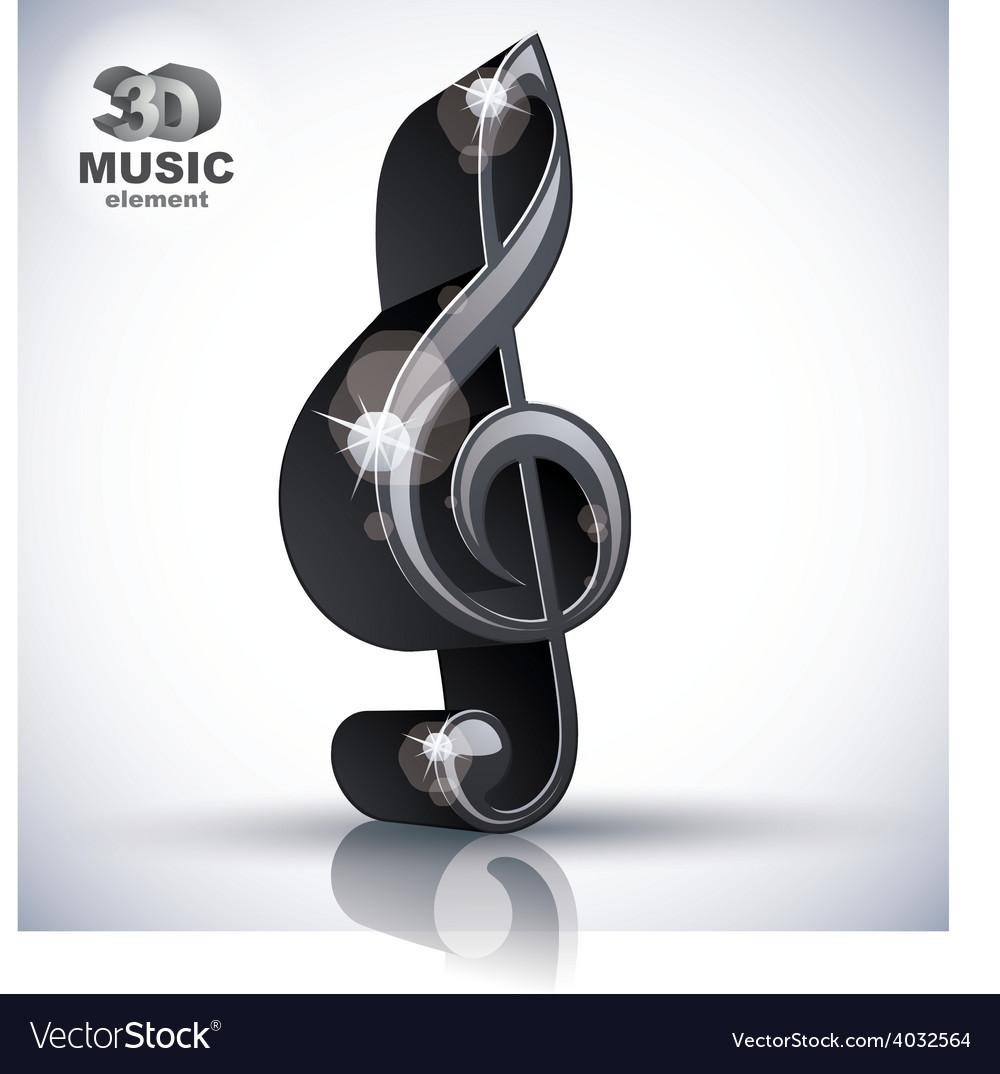 Treble clef 3d black music design element vector | Price: 1 Credit (USD $1)