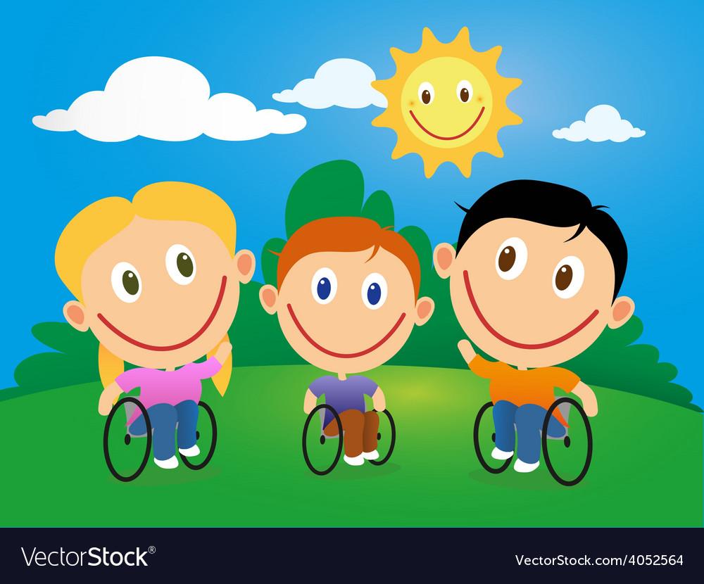 Wheelchair children vector   Price: 1 Credit (USD $1)