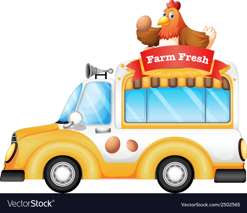 A vehicle selling farm fresh products vector | Price: 1 Credit (USD $1)