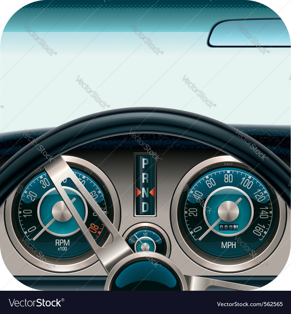 Car dashboard square icon vector | Price: 5 Credit (USD $5)
