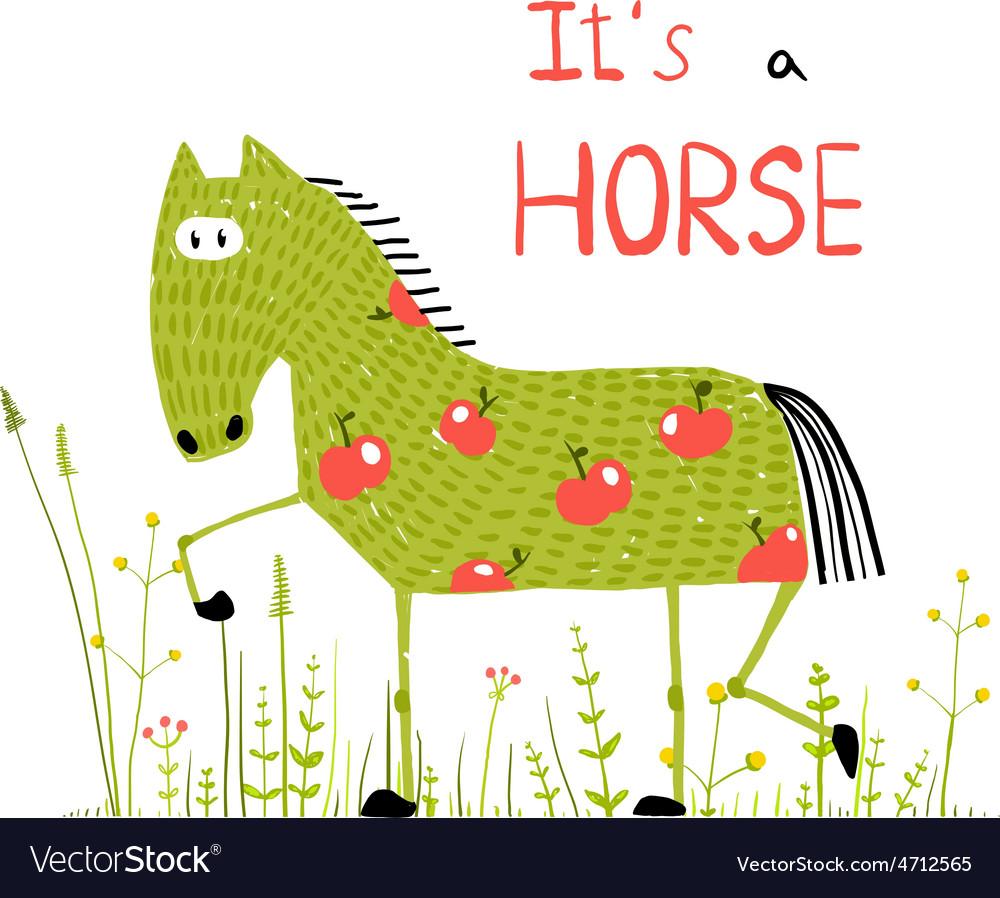 Childish colorful fun cartoon horse in grass field vector   Price: 1 Credit (USD $1)