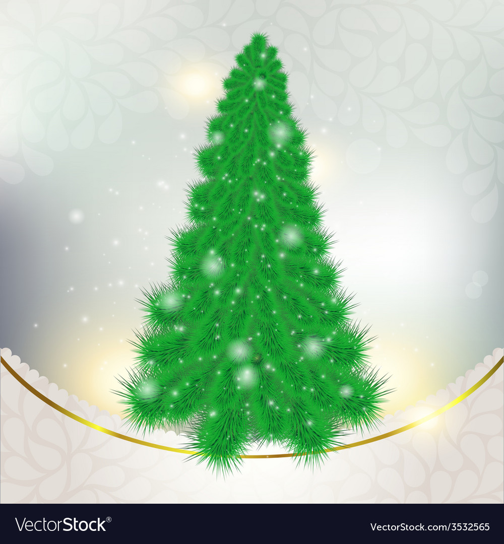 Christmas green tree on abstract background with vector | Price: 1 Credit (USD $1)