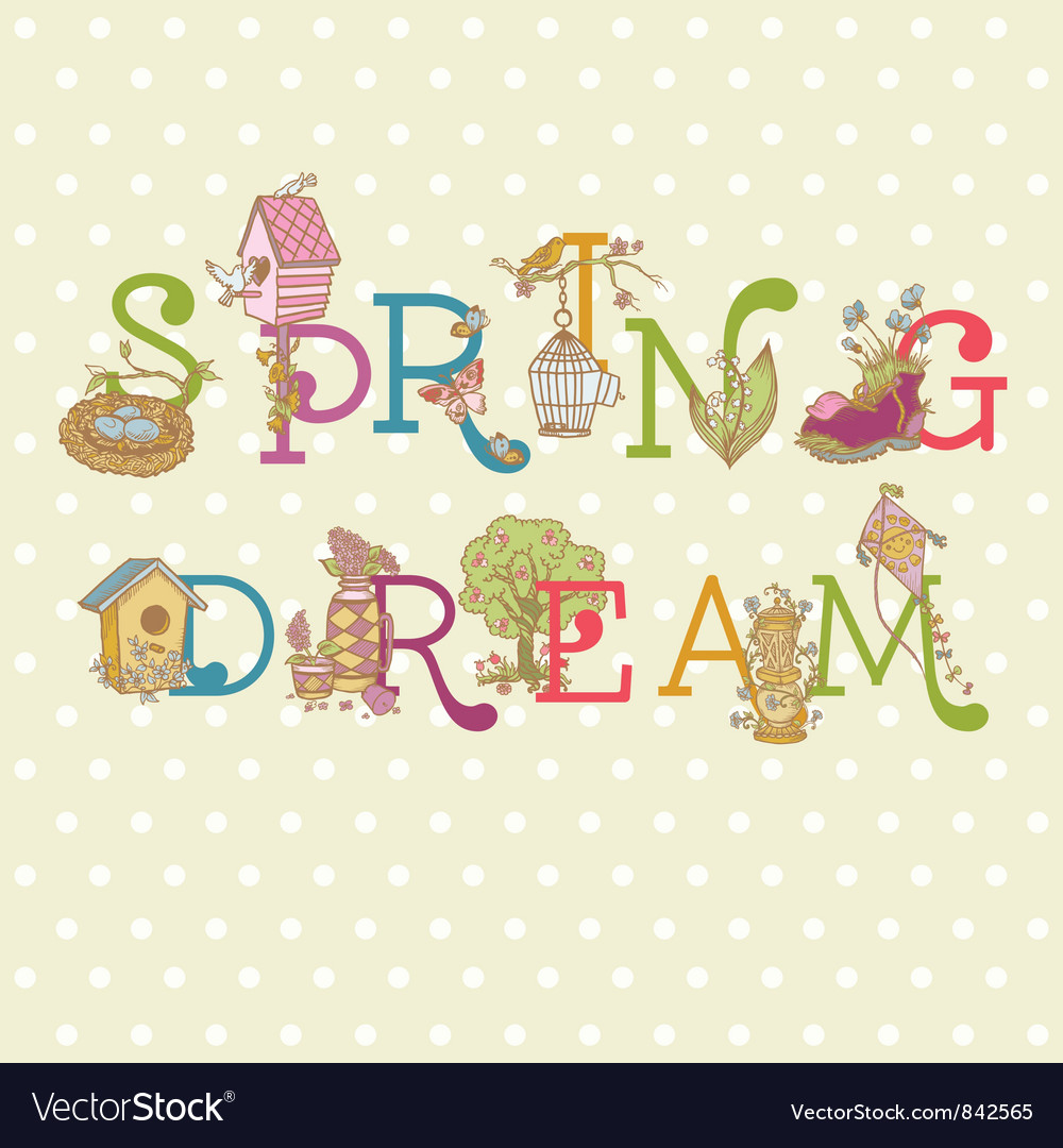 Colorful spring text vector | Price: 1 Credit (USD $1)