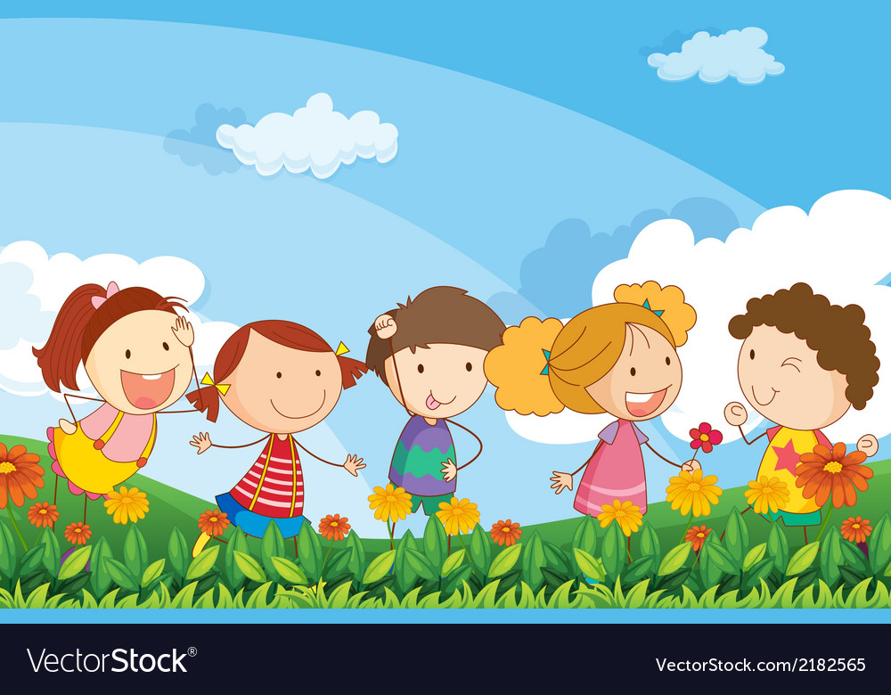 Five adorable kids playing at the garden vector | Price: 1 Credit (USD $1)