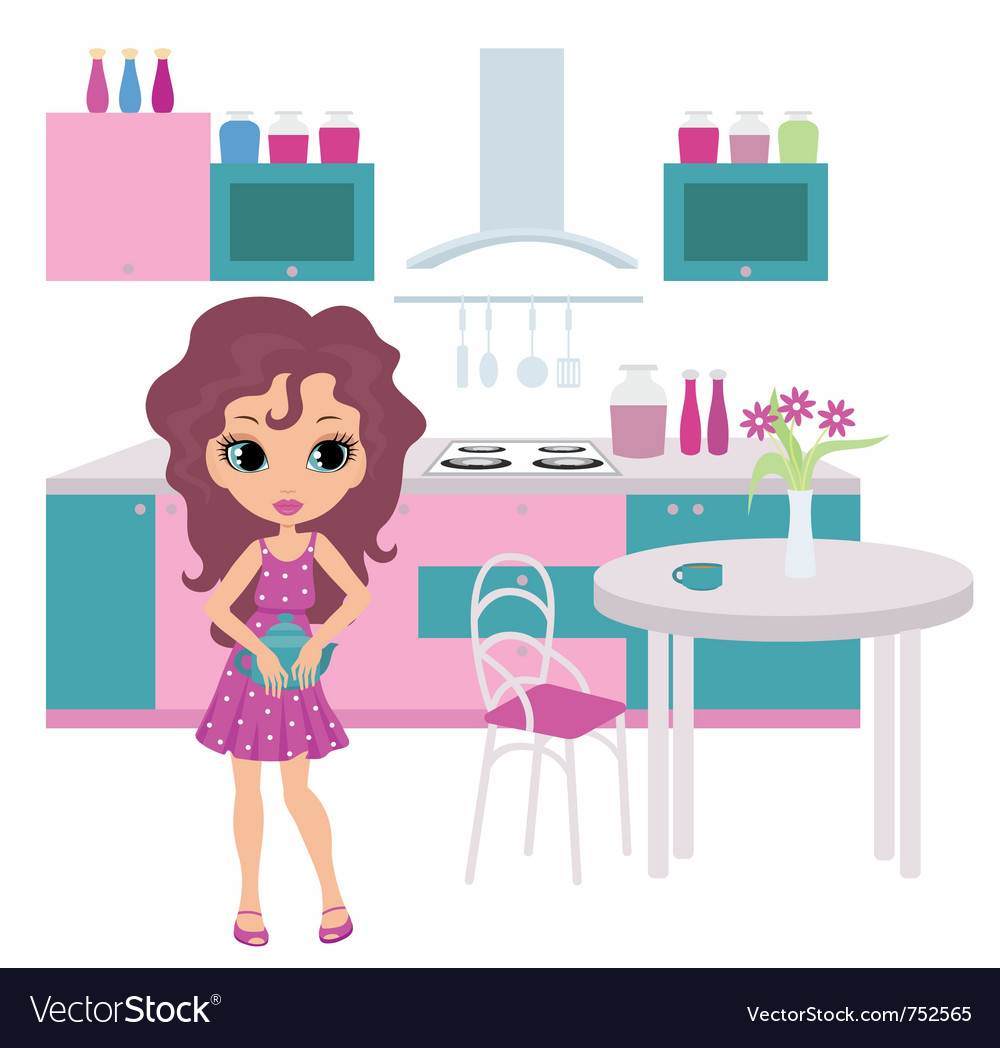 Girl in kitchen vector | Price: 3 Credit (USD $3)