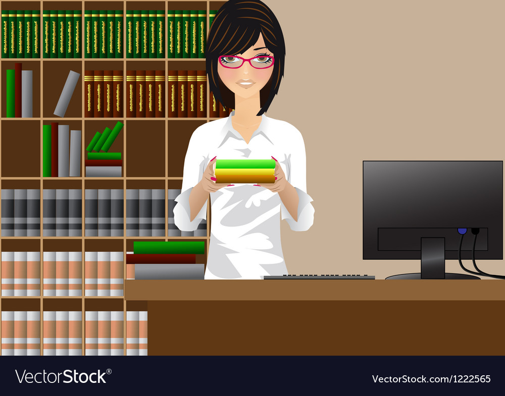 Girl with books vector | Price: 1 Credit (USD $1)