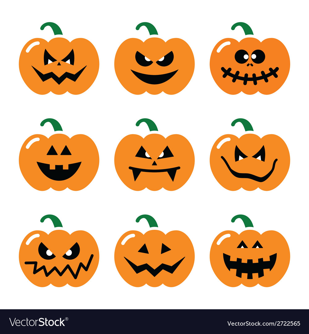 Halloween pumpkin icons set vector | Price: 1 Credit (USD $1)