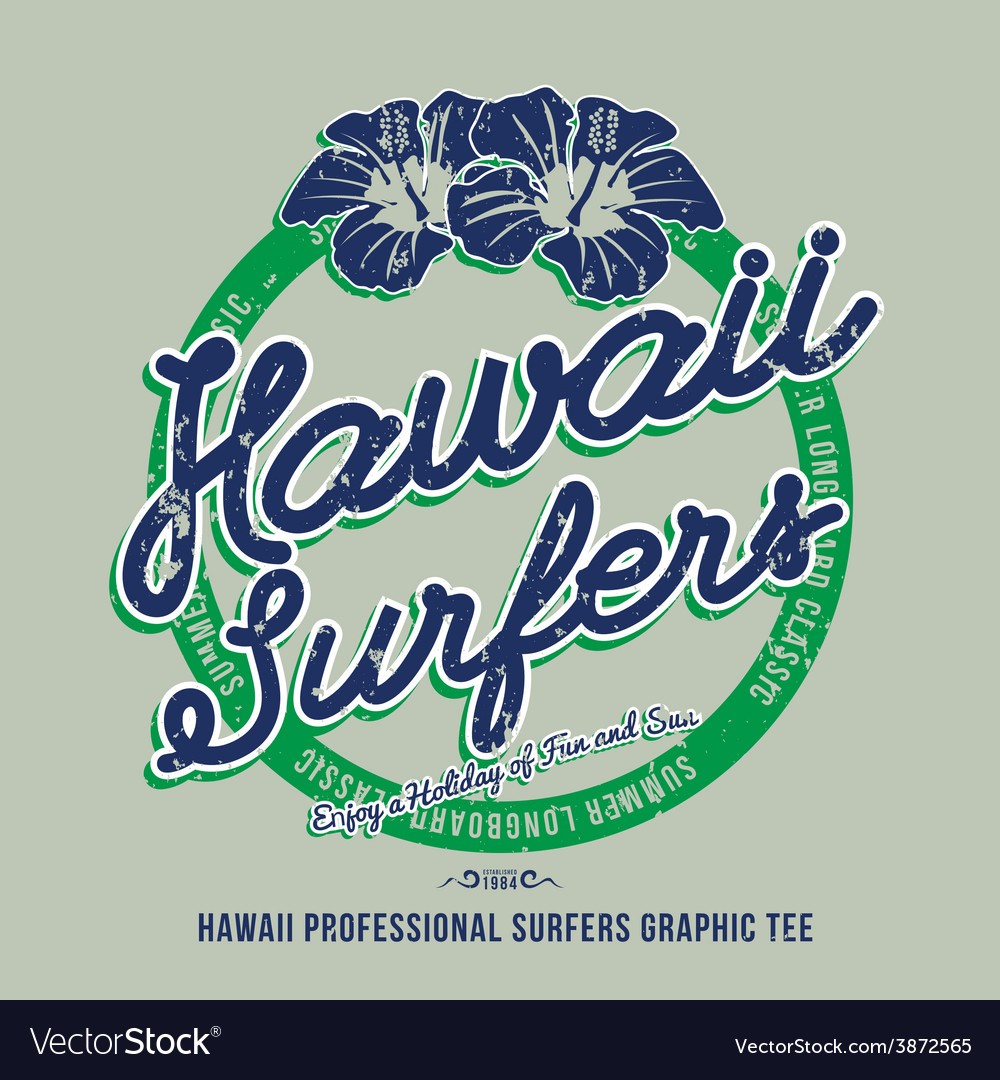 Hawaii surfers grunge effect on separate layer vector | Price: 1 Credit (USD $1)