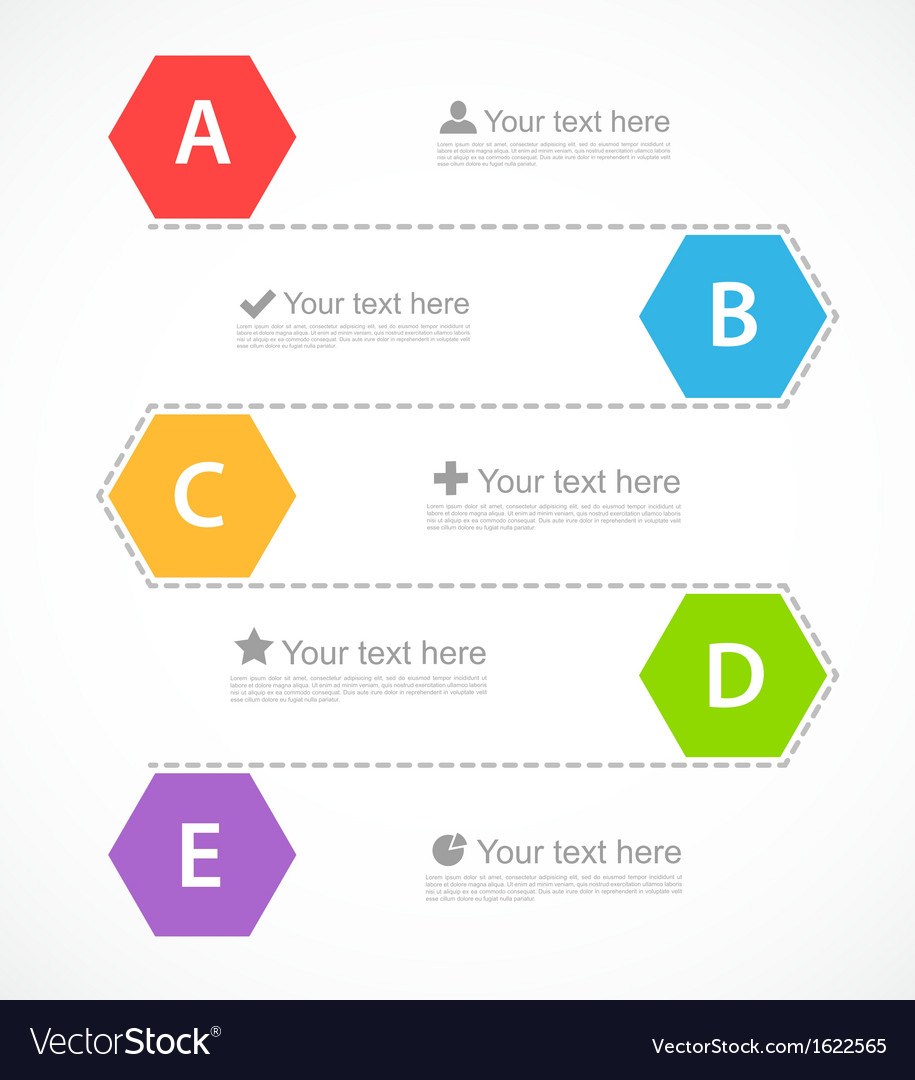 Infographic design with hexagons vector | Price: 1 Credit (USD $1)
