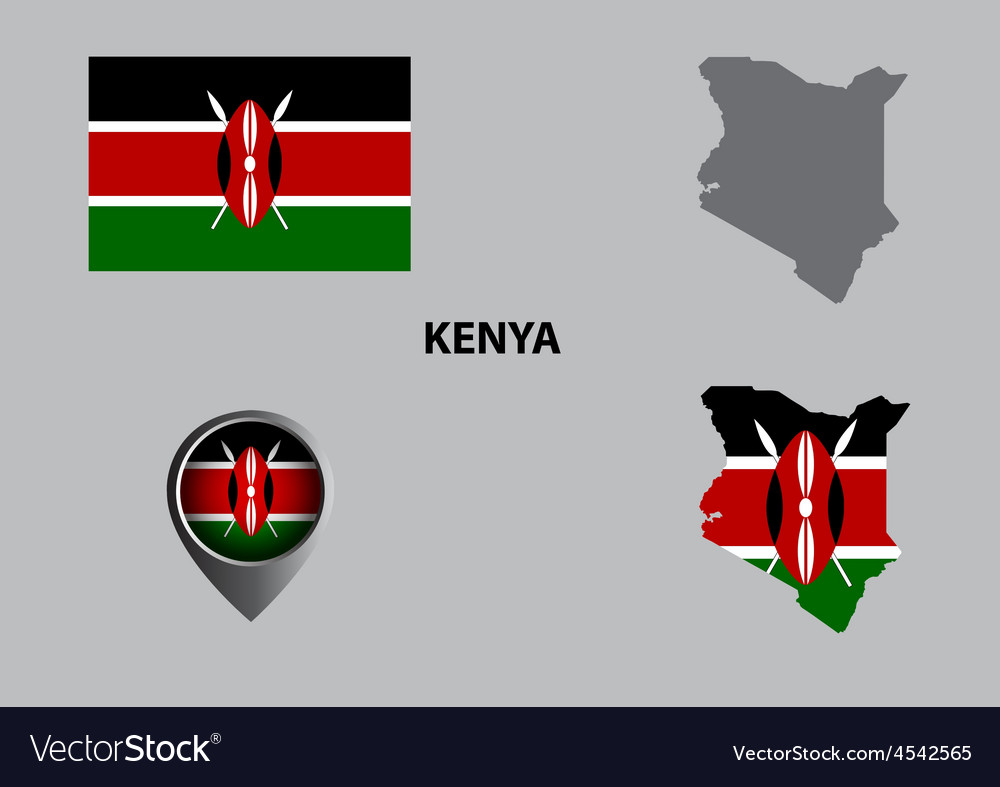 Map of kenya and symbol vector | Price: 1 Credit (USD $1)