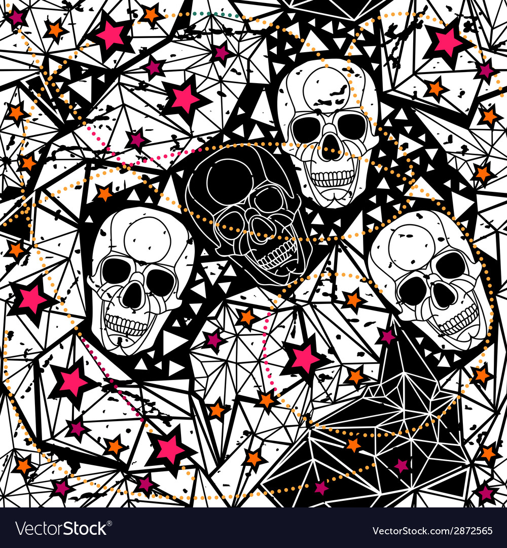Seamless black and white background with skulls vector | Price: 1 Credit (USD $1)