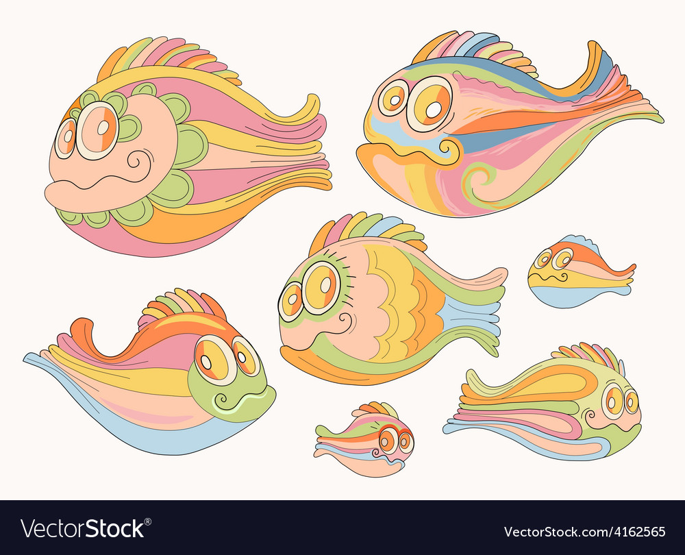 Set of cartoon cheerful brightly colored fish vector | Price: 1 Credit (USD $1)