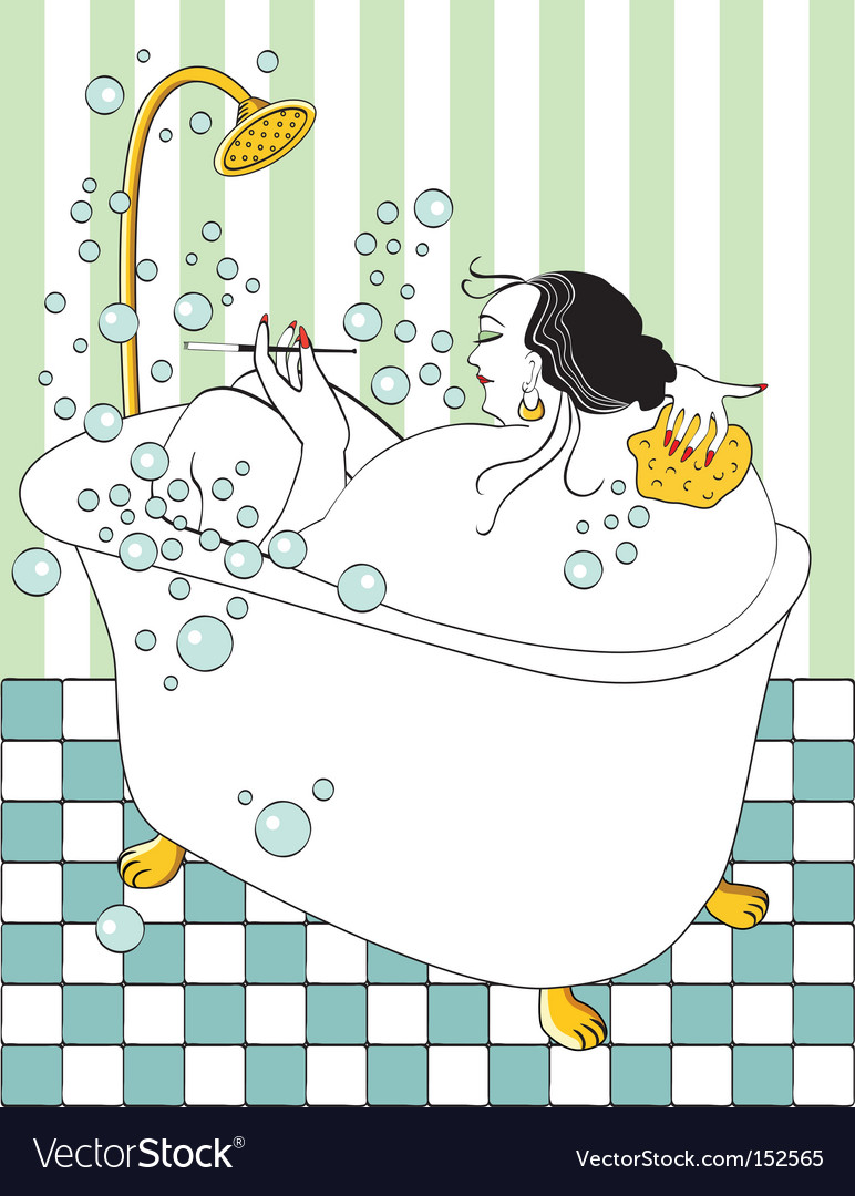 Woman taking bath vector | Price: 3 Credit (USD $3)