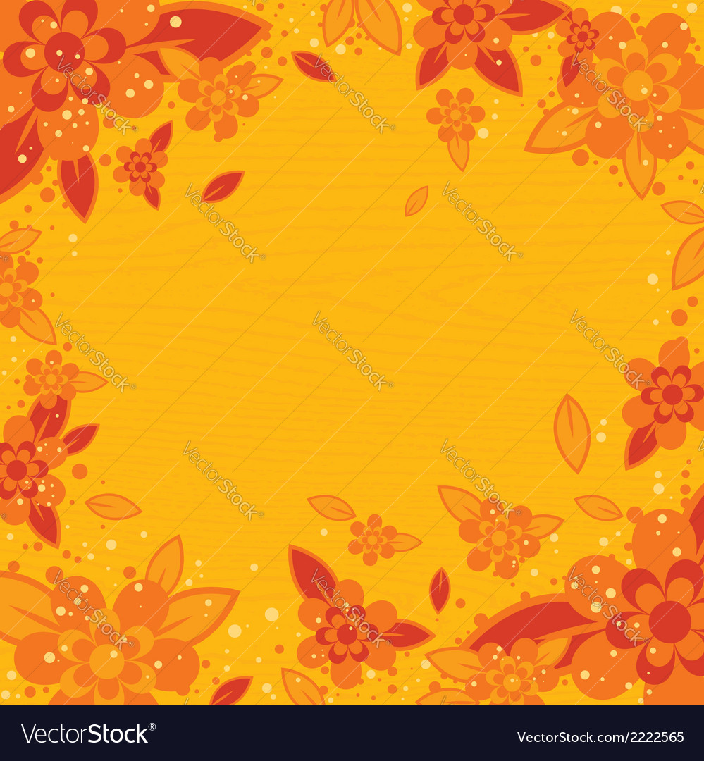 Yellow wooden background with flowers vector | Price: 1 Credit (USD $1)
