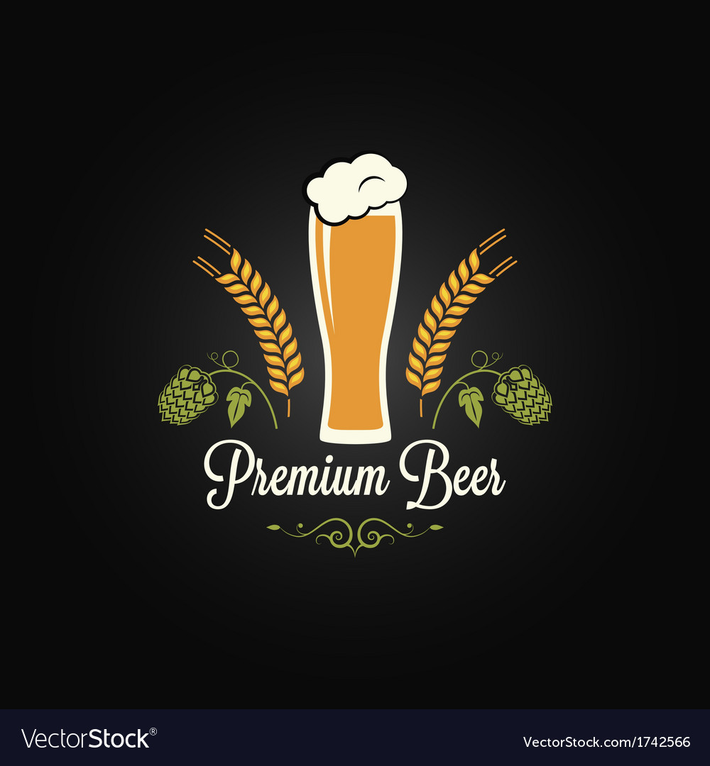 Beer glass hops design background vector | Price: 1 Credit (USD $1)