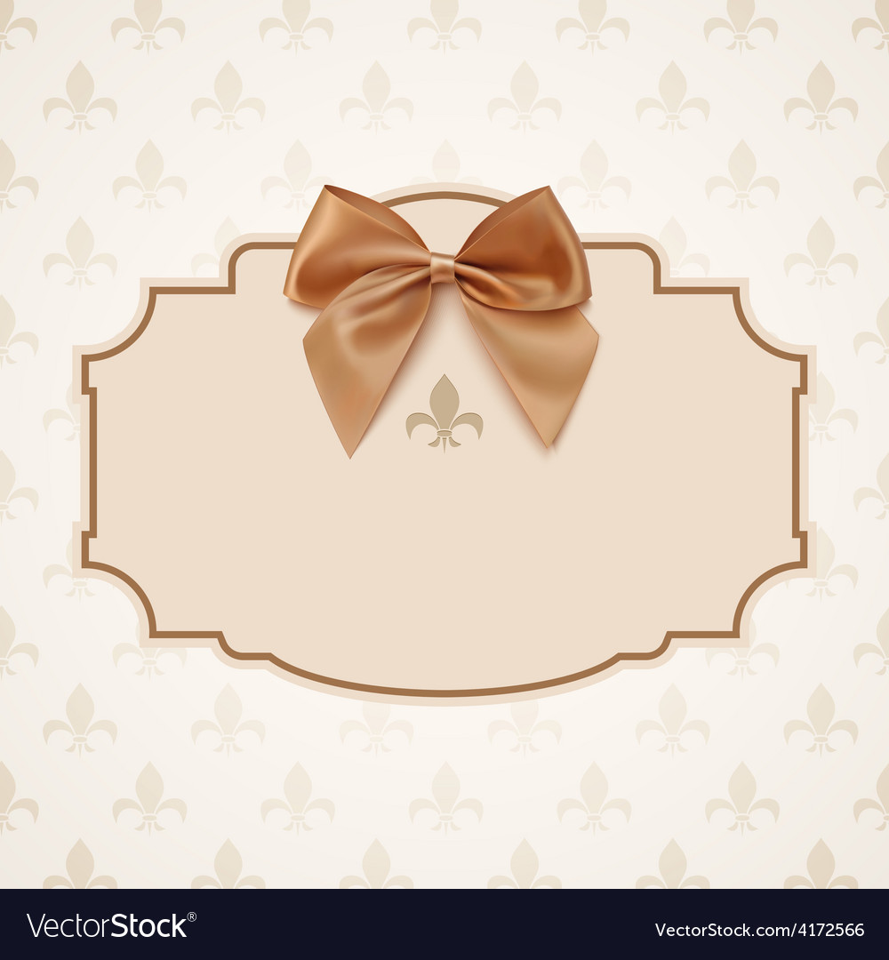Blank banner with golden ribbon and a bow vector | Price: 1 Credit (USD $1)