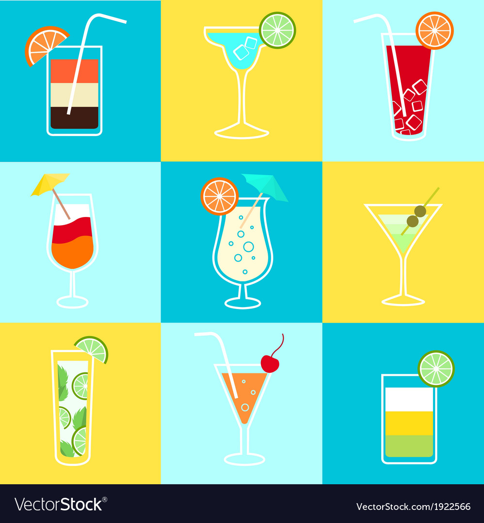 Cocktails party icons set vector | Price: 1 Credit (USD $1)