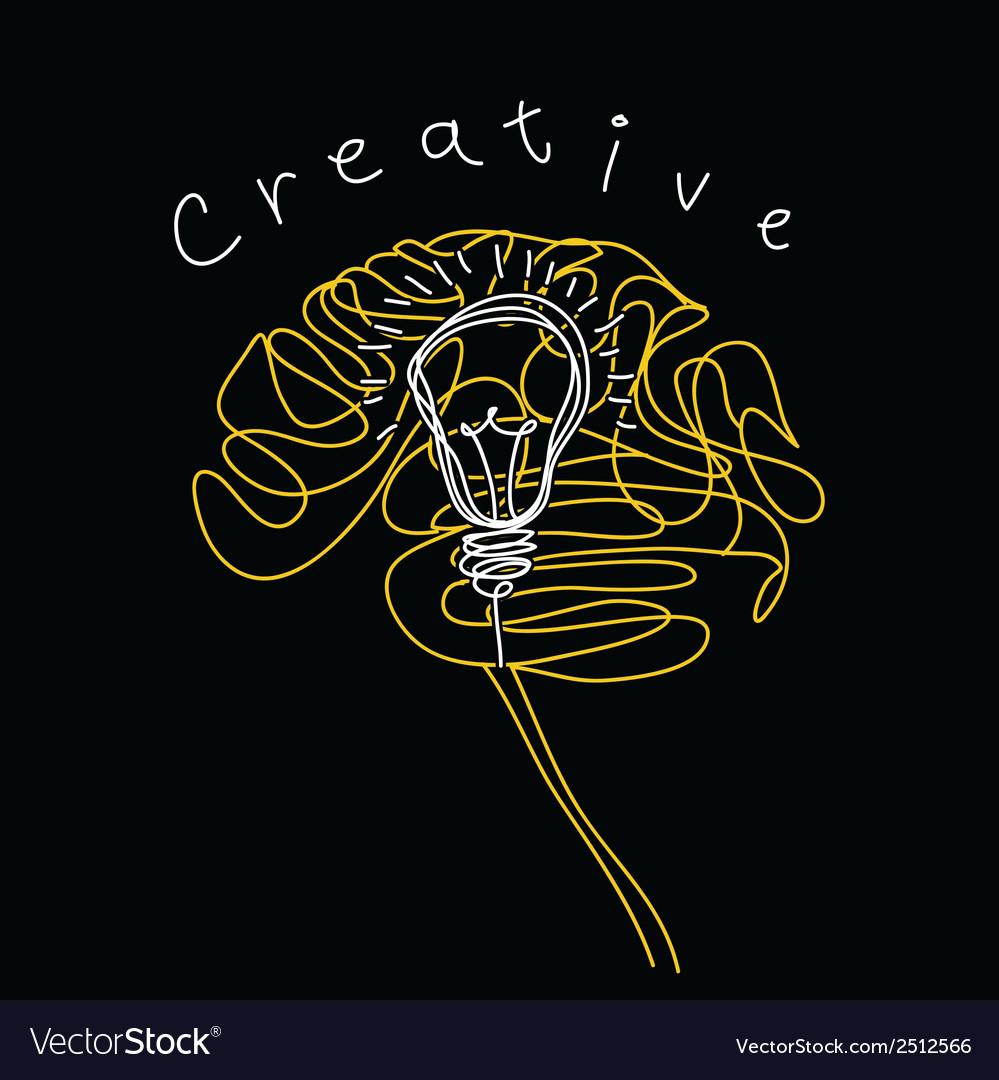 Creative brain and bulb icon concept of idea vector | Price: 1 Credit (USD $1)