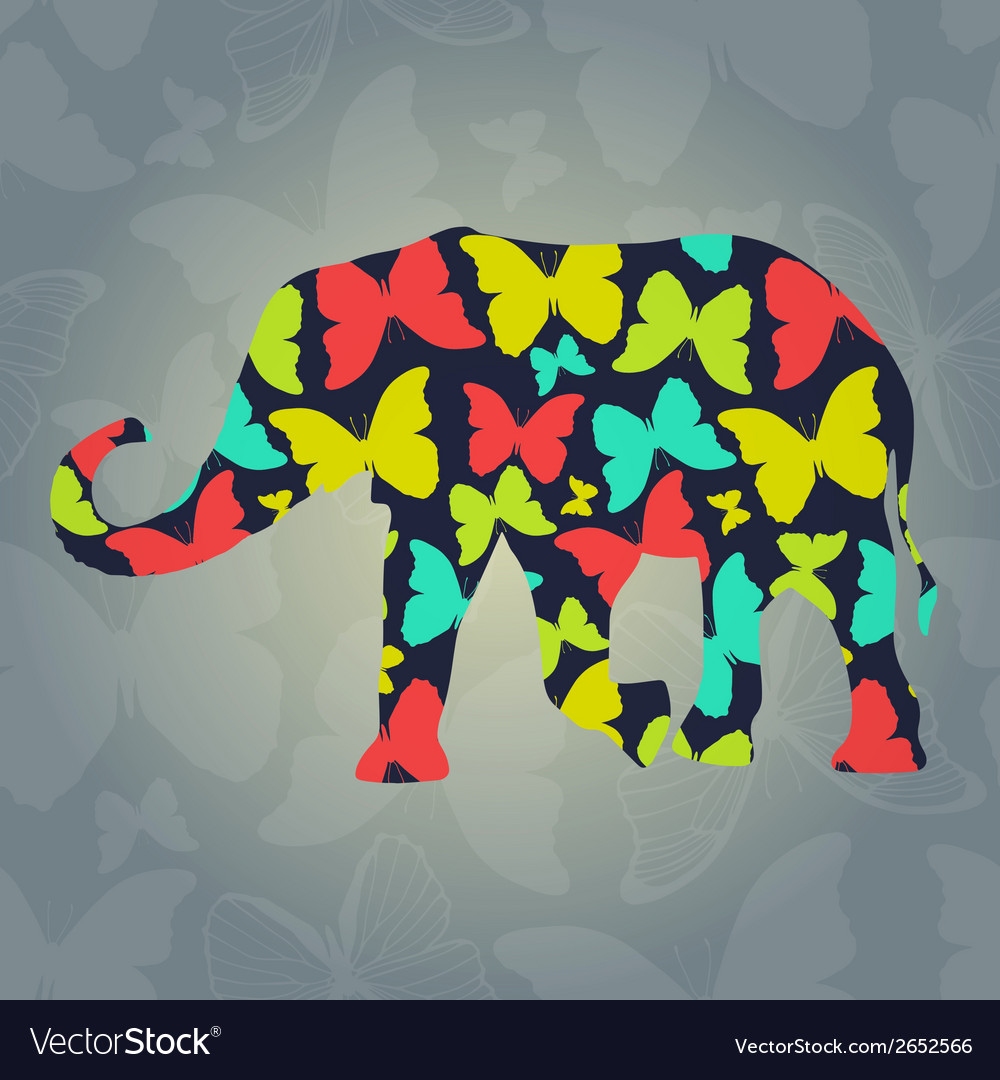 Decorative background with elephant and vector | Price: 1 Credit (USD $1)