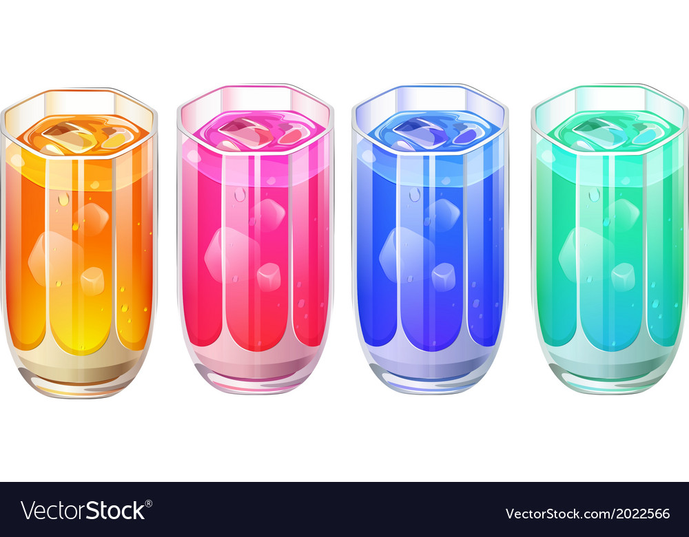 Four glasses of cocktail drinks vector | Price: 1 Credit (USD $1)
