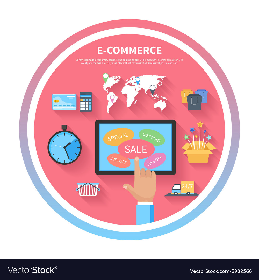 Internet shopping concept with monitor screen vector | Price: 1 Credit (USD $1)
