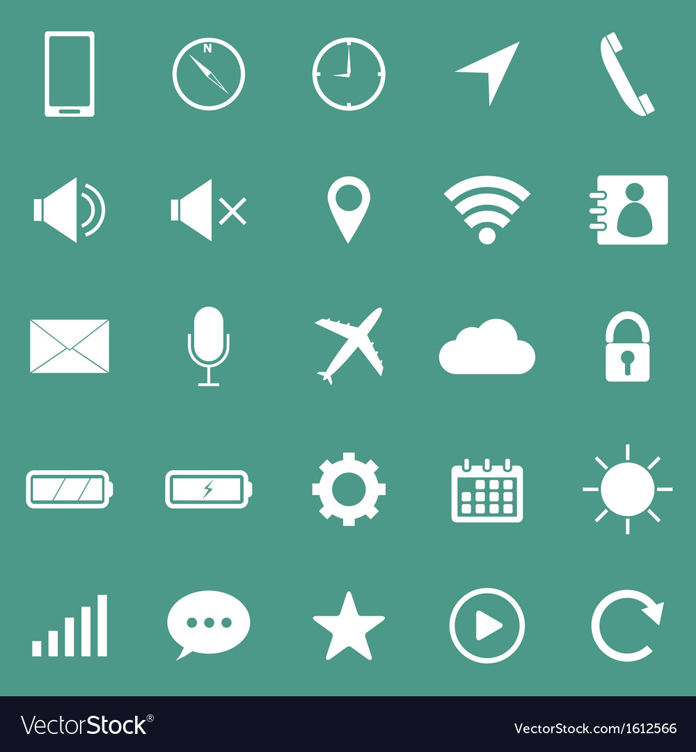Mobile phone icons on green background vector | Price: 1 Credit (USD $1)