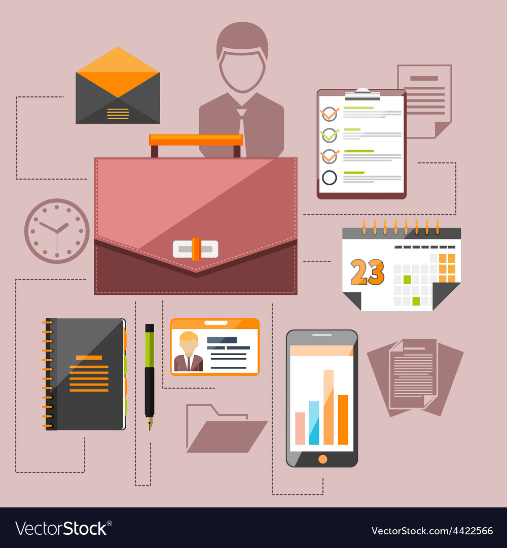 Modern business management elements vector | Price: 1 Credit (USD $1)