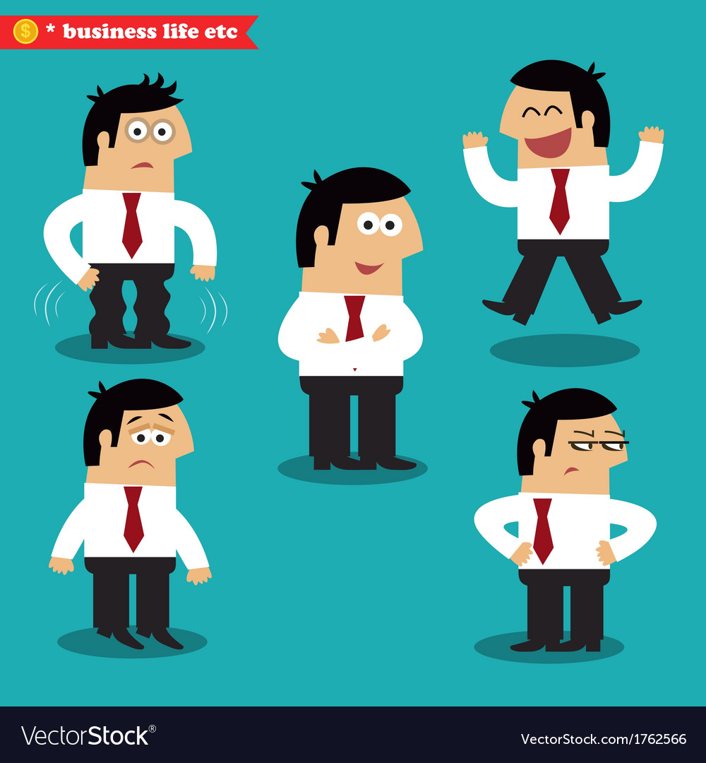 Office emotions in poses vector | Price: 1 Credit (USD $1)
