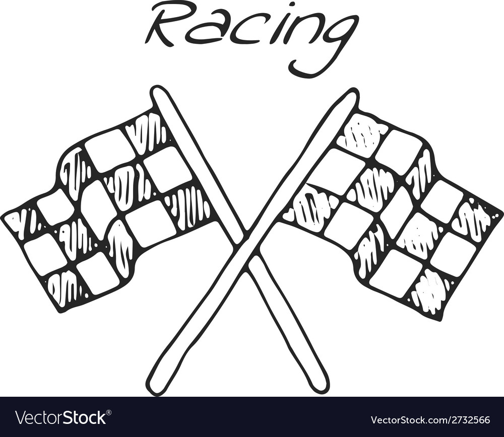 Racing flag in a drawing style vector | Price: 1 Credit (USD $1)