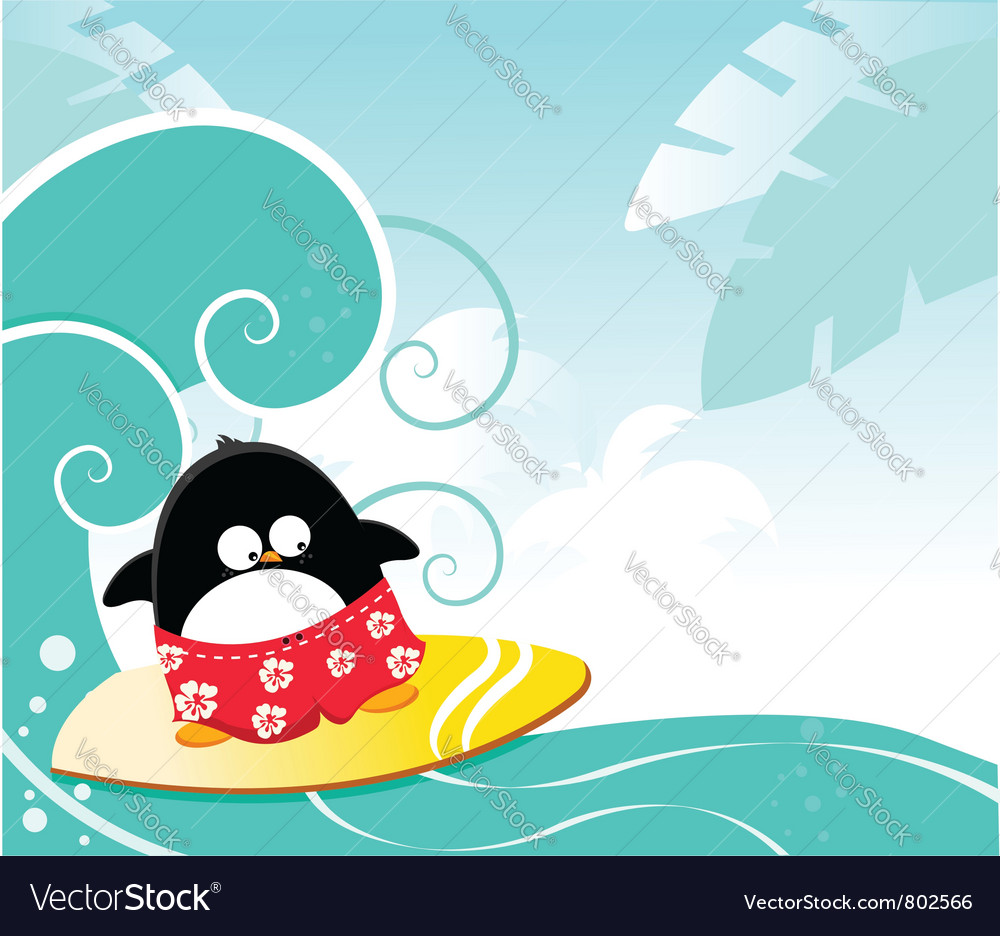 Surfing penguin vector | Price: 1 Credit (USD $1)