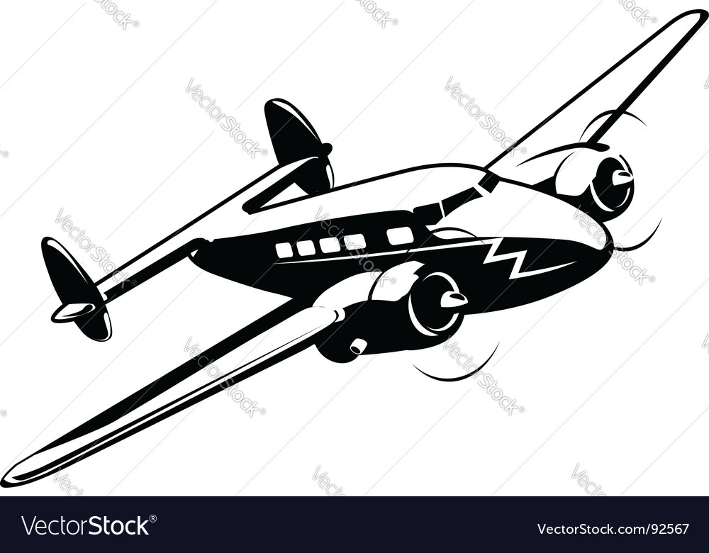 Cartoon retro airplane vector | Price: 1 Credit (USD $1)