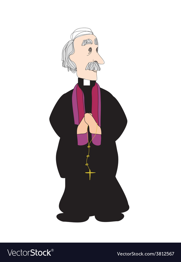 Catholic priest on a white background vector | Price: 1 Credit (USD $1)
