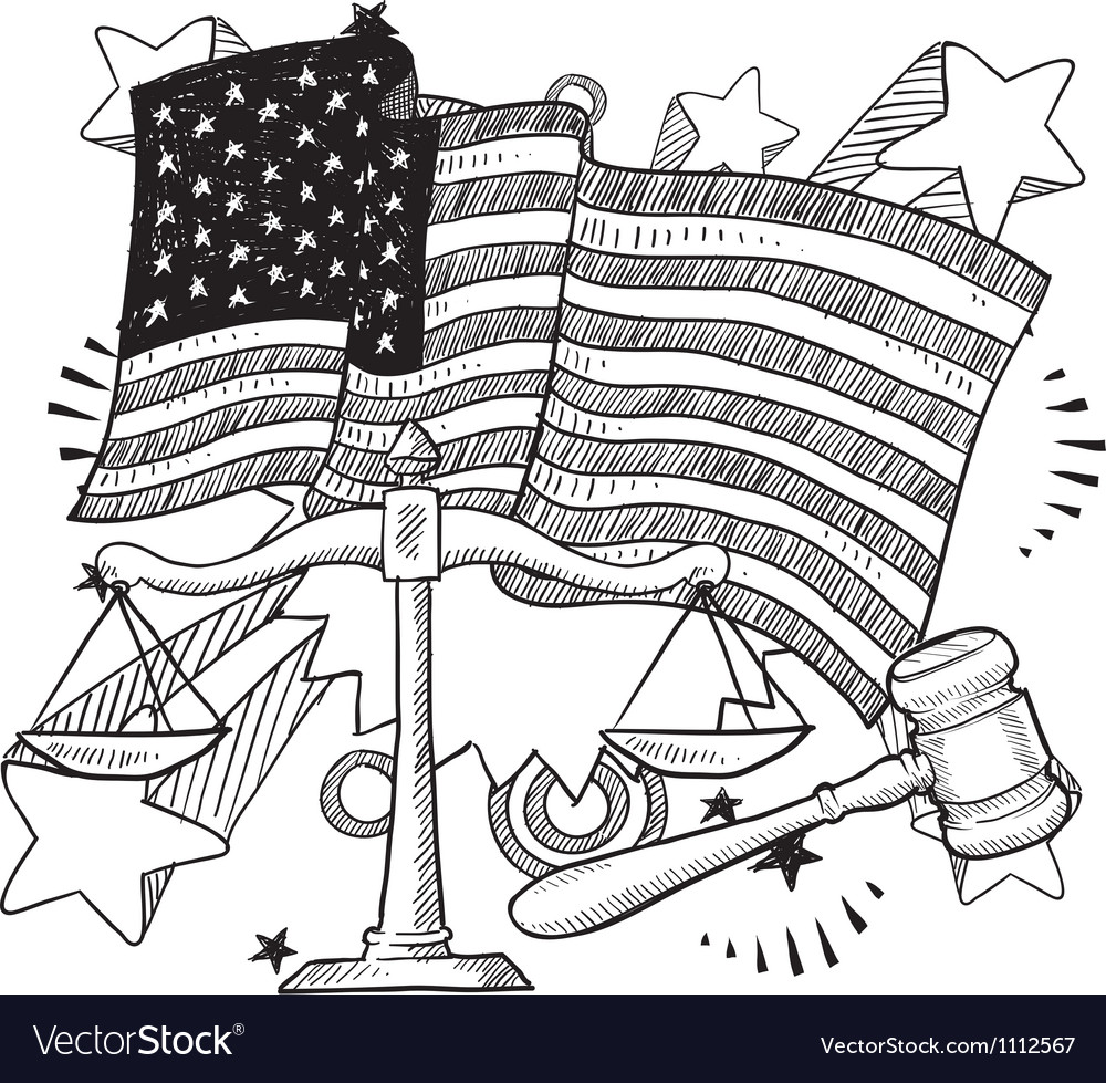 Doodle americana justice bw vector | Price: 1 Credit (USD $1)