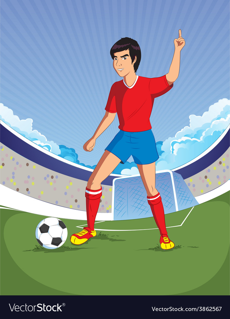Football soccer player is number one in a stadium vector | Price: 1 Credit (USD $1)
