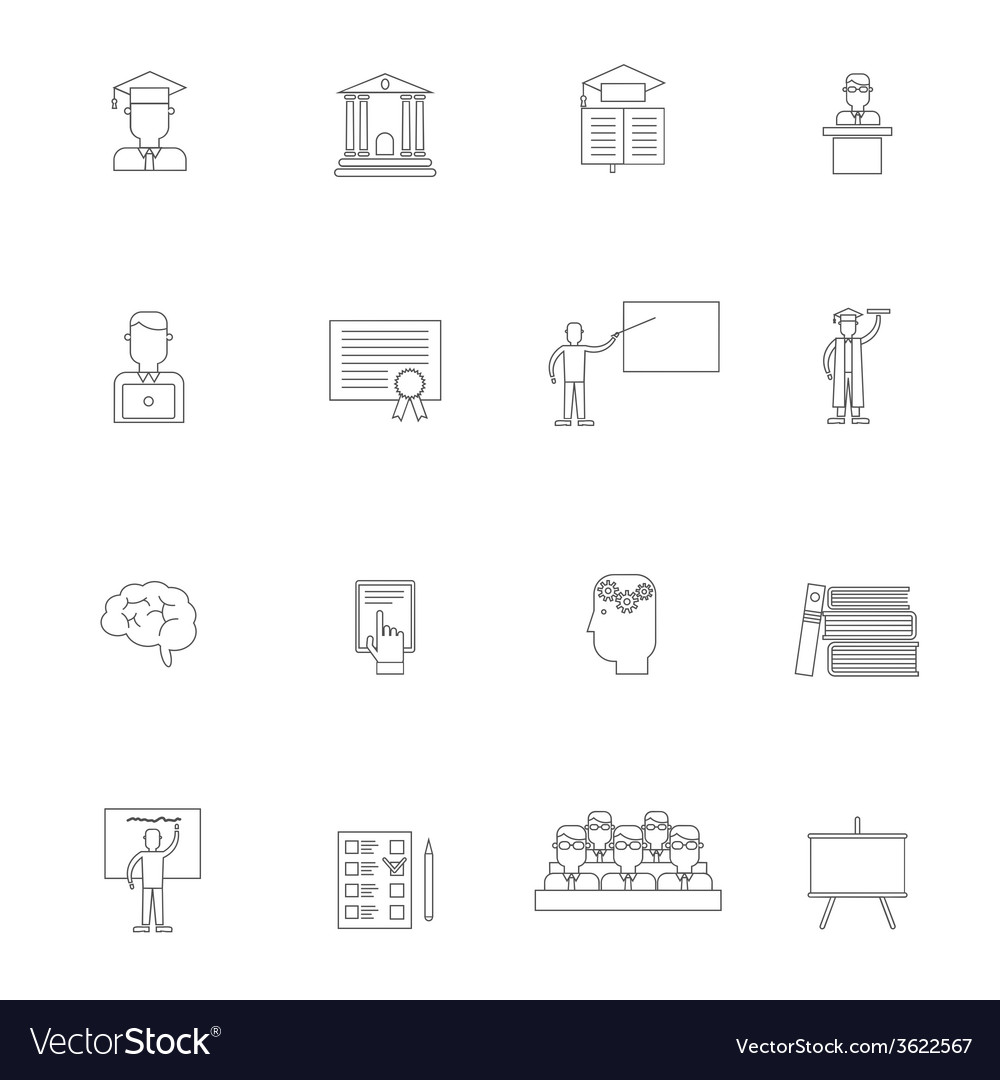 Higher education icon outline set vector | Price: 1 Credit (USD $1)