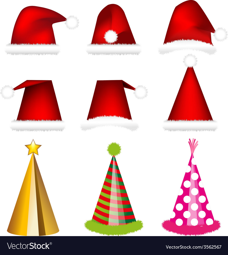 Santa cap and party cap vector | Price: 1 Credit (USD $1)