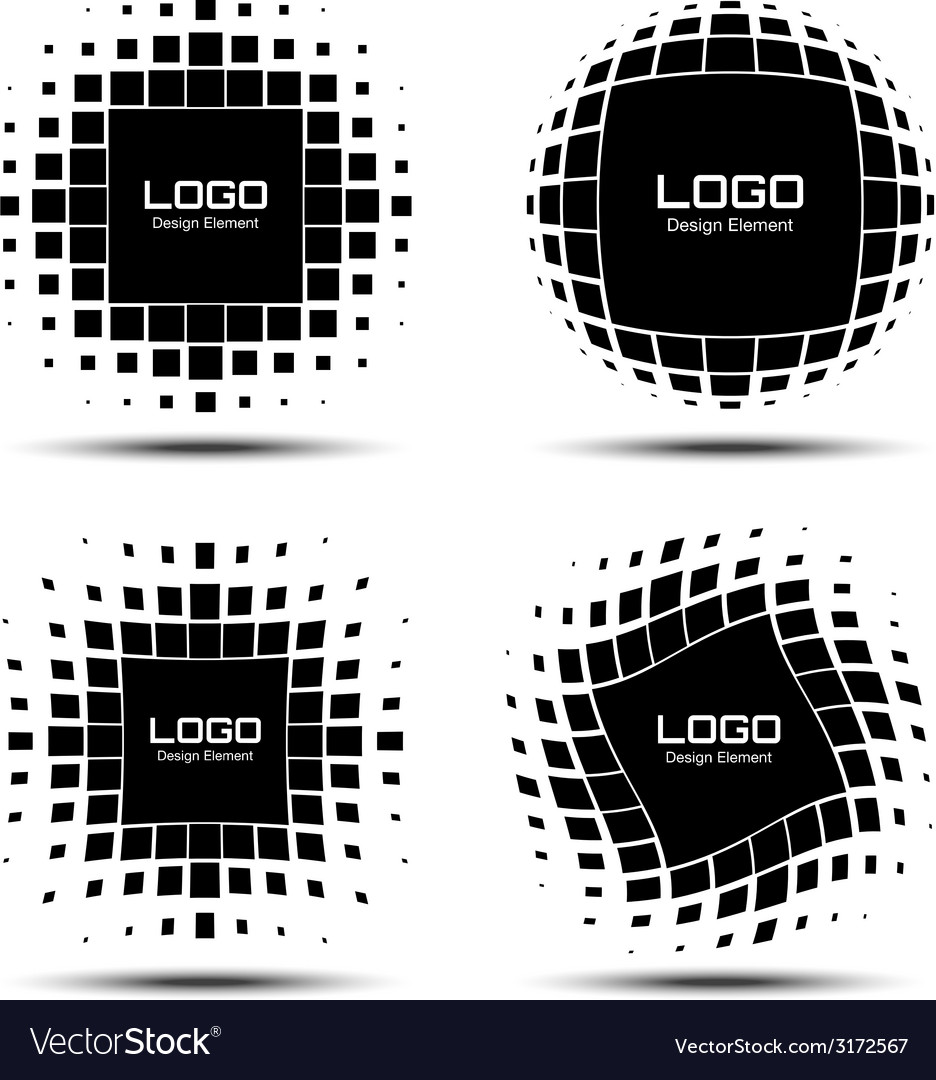 Set of abstract halftone logo design elements vector | Price: 1 Credit (USD $1)
