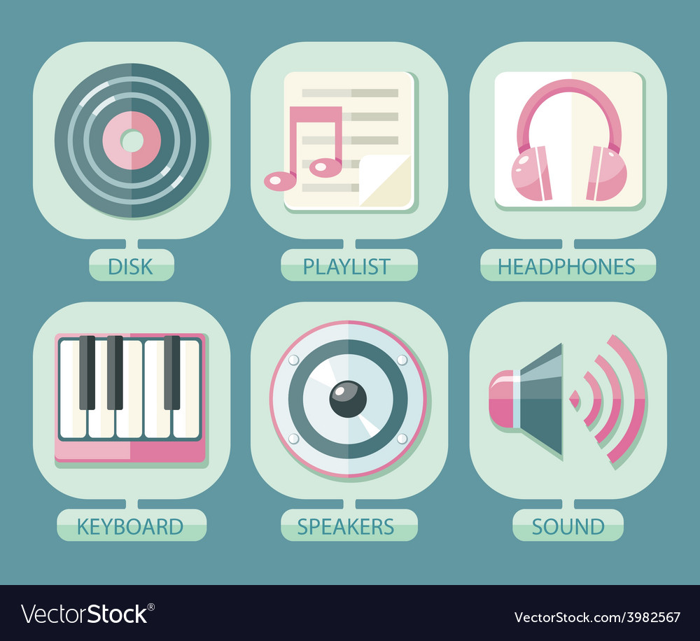 Set of icons music for app vector | Price: 1 Credit (USD $1)