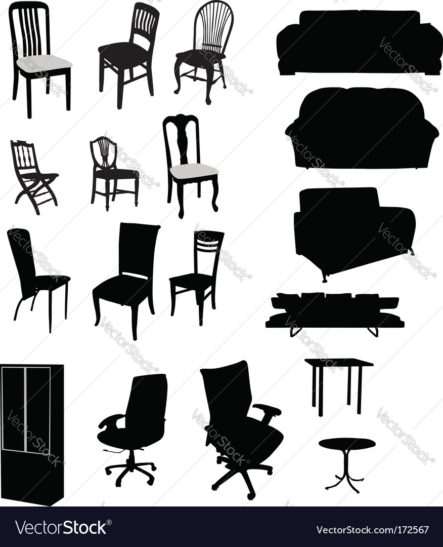 Silhouettes of furniture vector | Price: 1 Credit (USD $1)