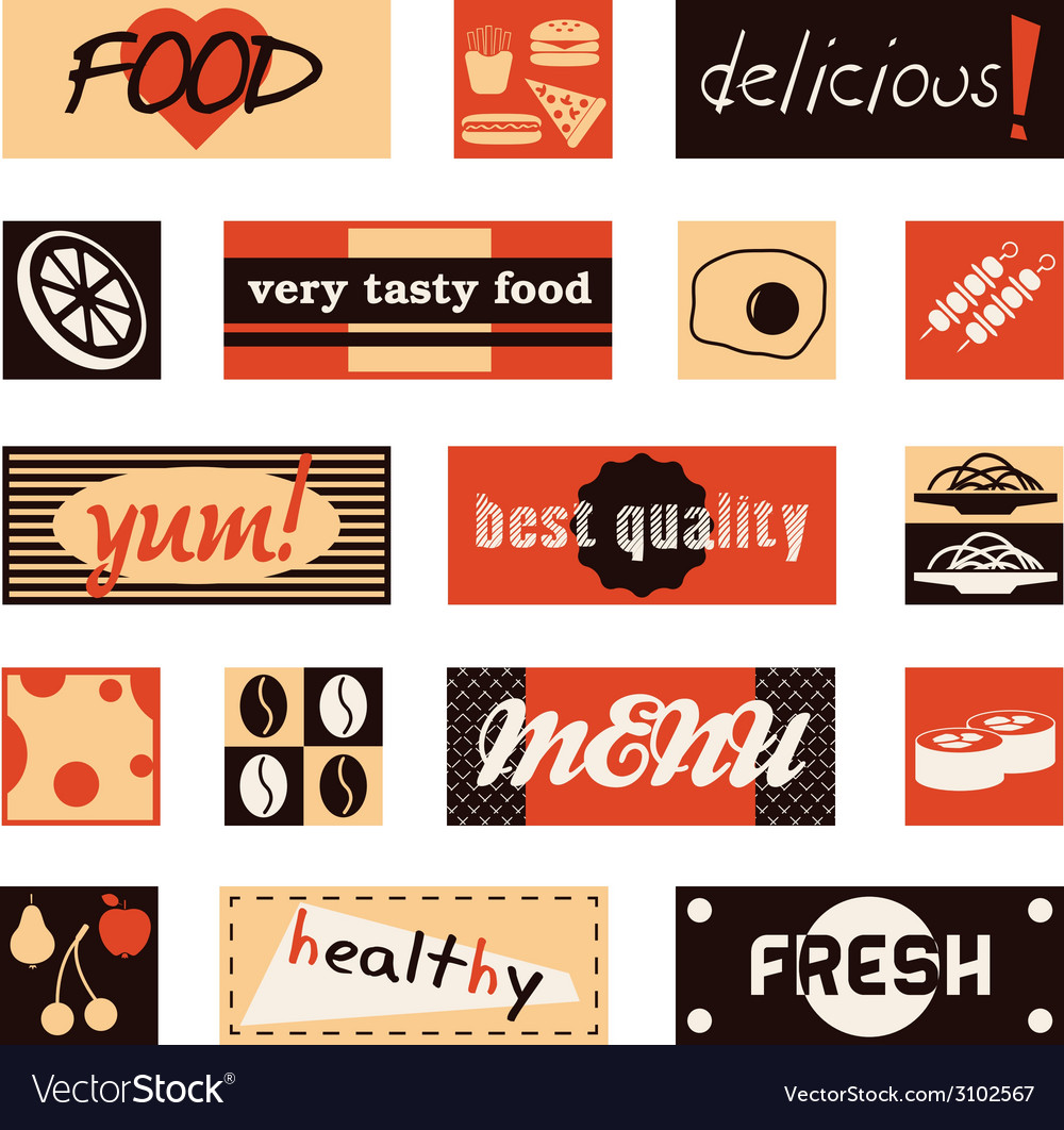 Vintage food pictures and titles vector | Price: 1 Credit (USD $1)