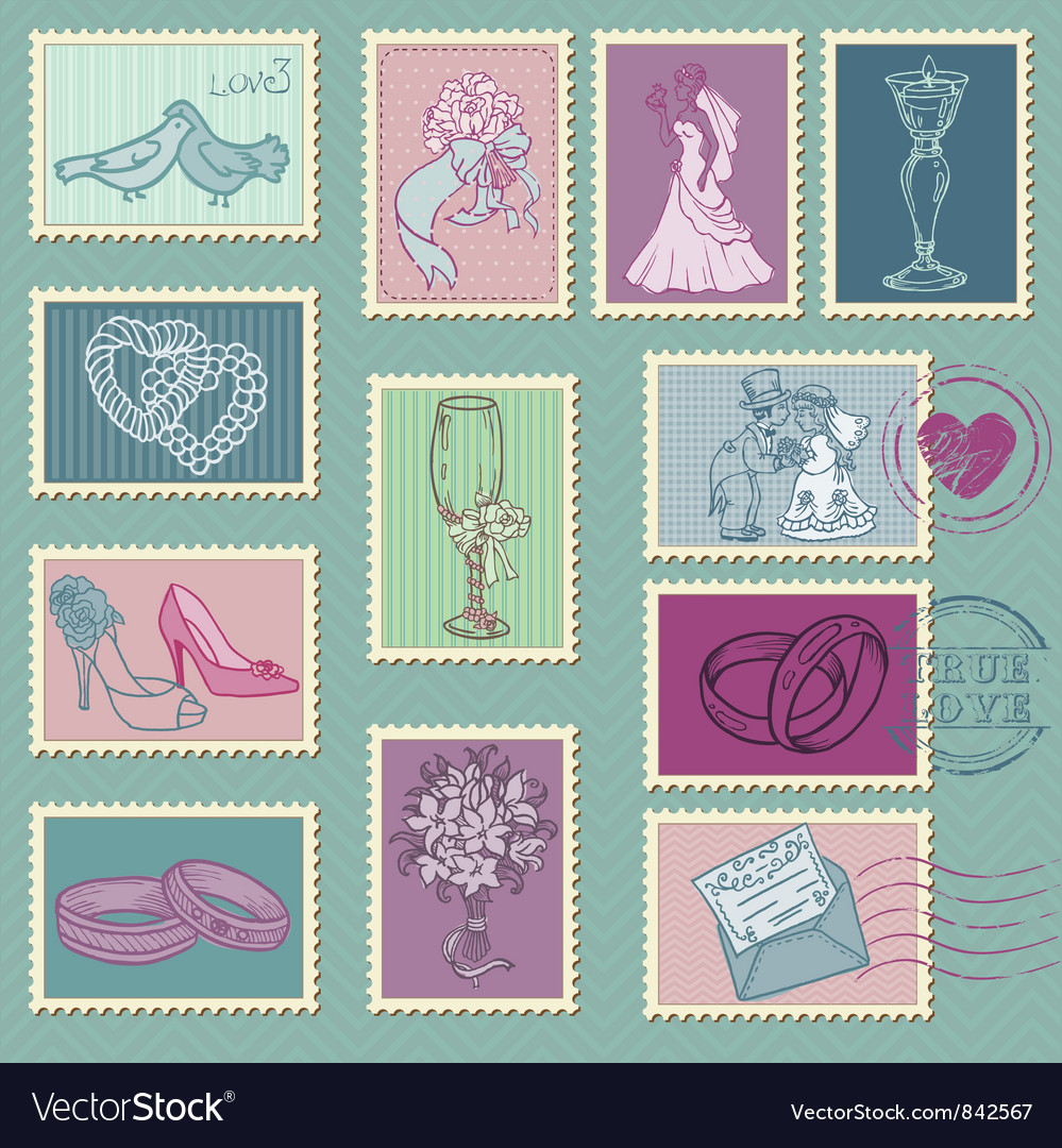 Wedding postage stamps vector | Price: 1 Credit (USD $1)
