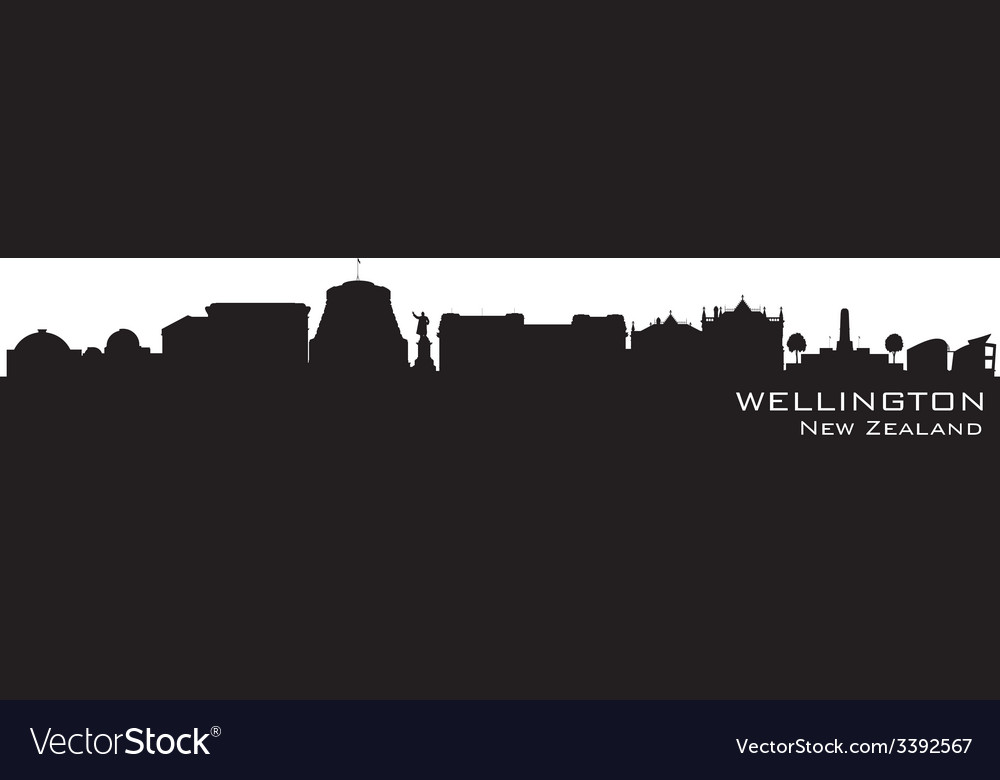 Wellington new zealand skyline detailed silhouette vector | Price: 1 Credit (USD $1)