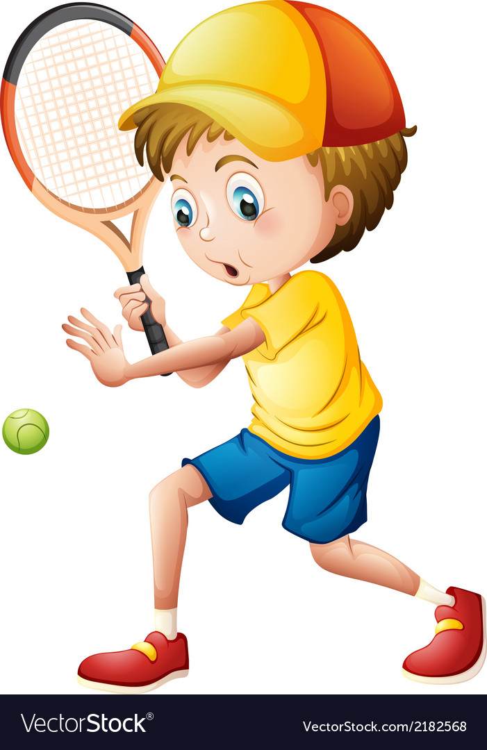 A young man playing tennis vector | Price: 1 Credit (USD $1)