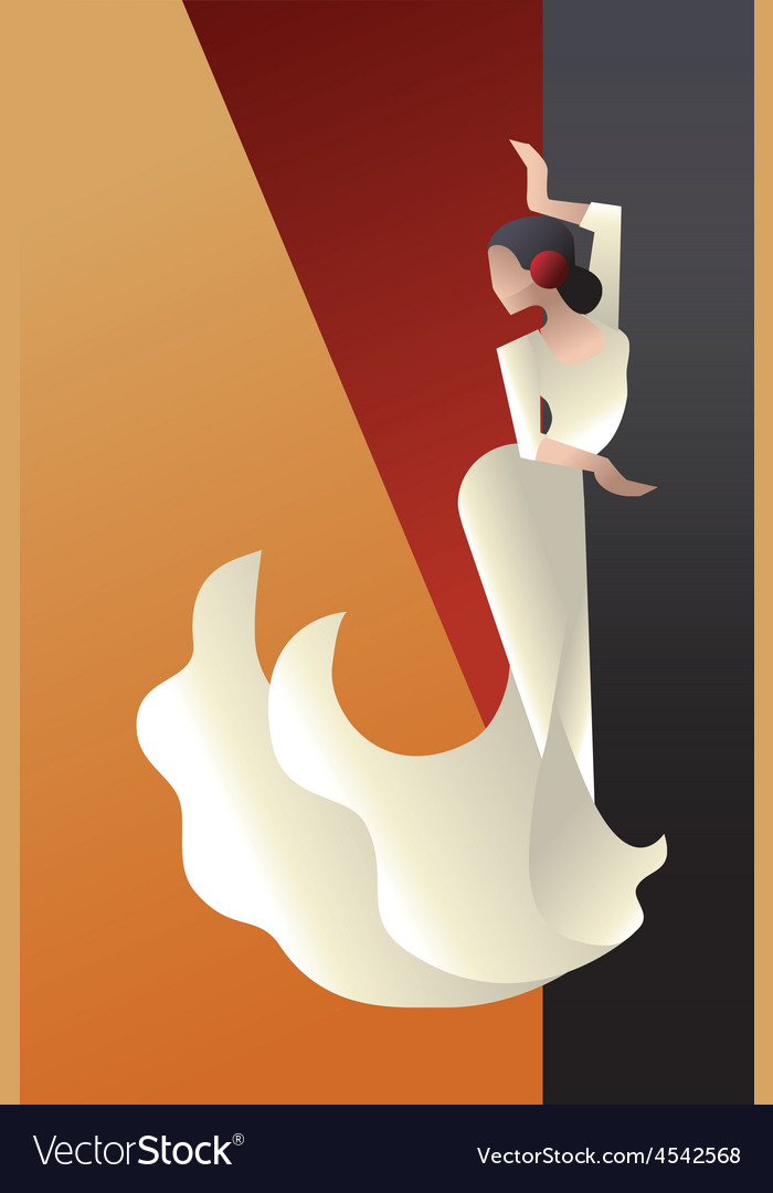 Art deco styled spain flamenco dancer vector | Price: 3 Credit (USD $3)