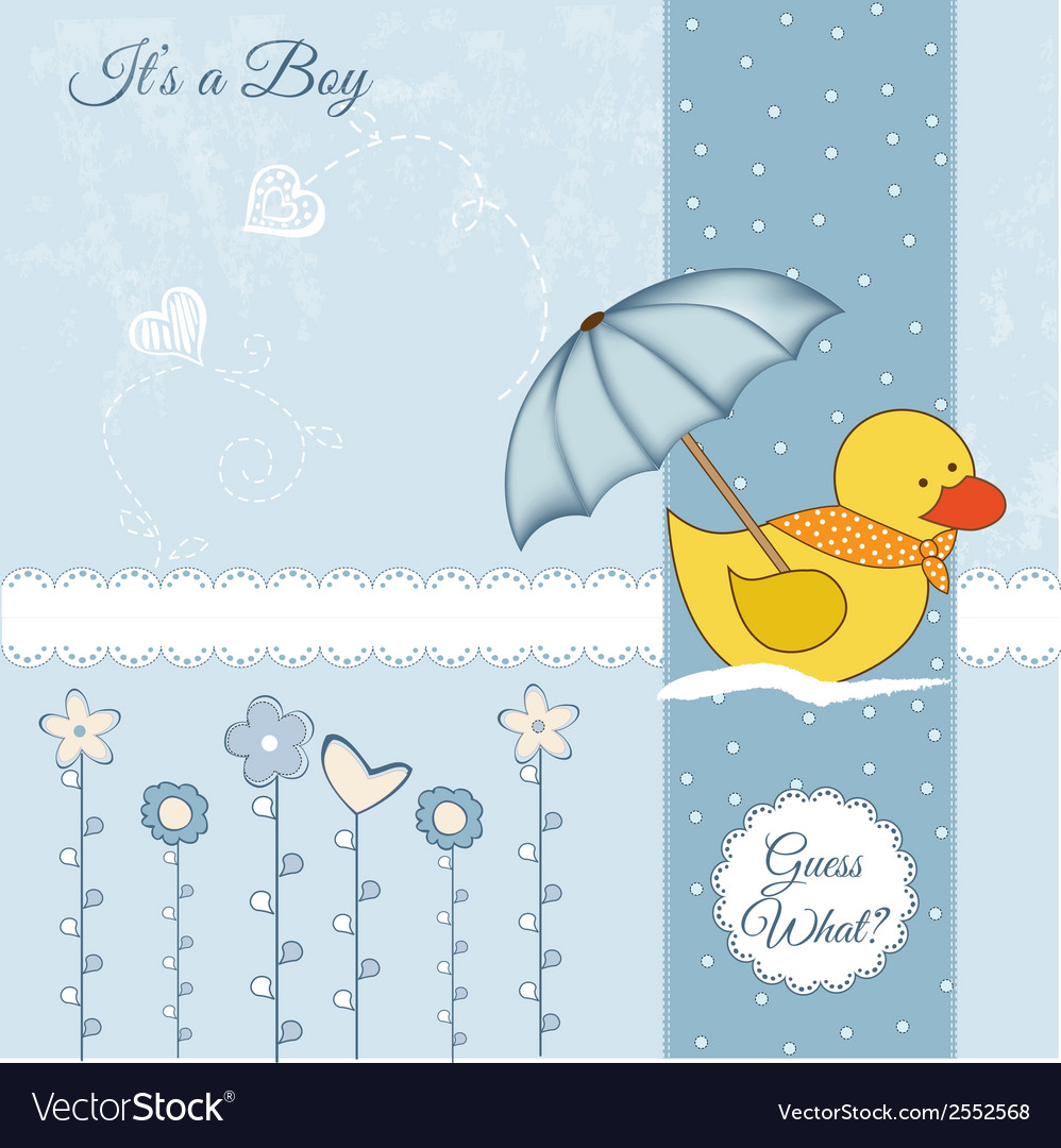 Baby shower card with duck toy vector | Price: 1 Credit (USD $1)