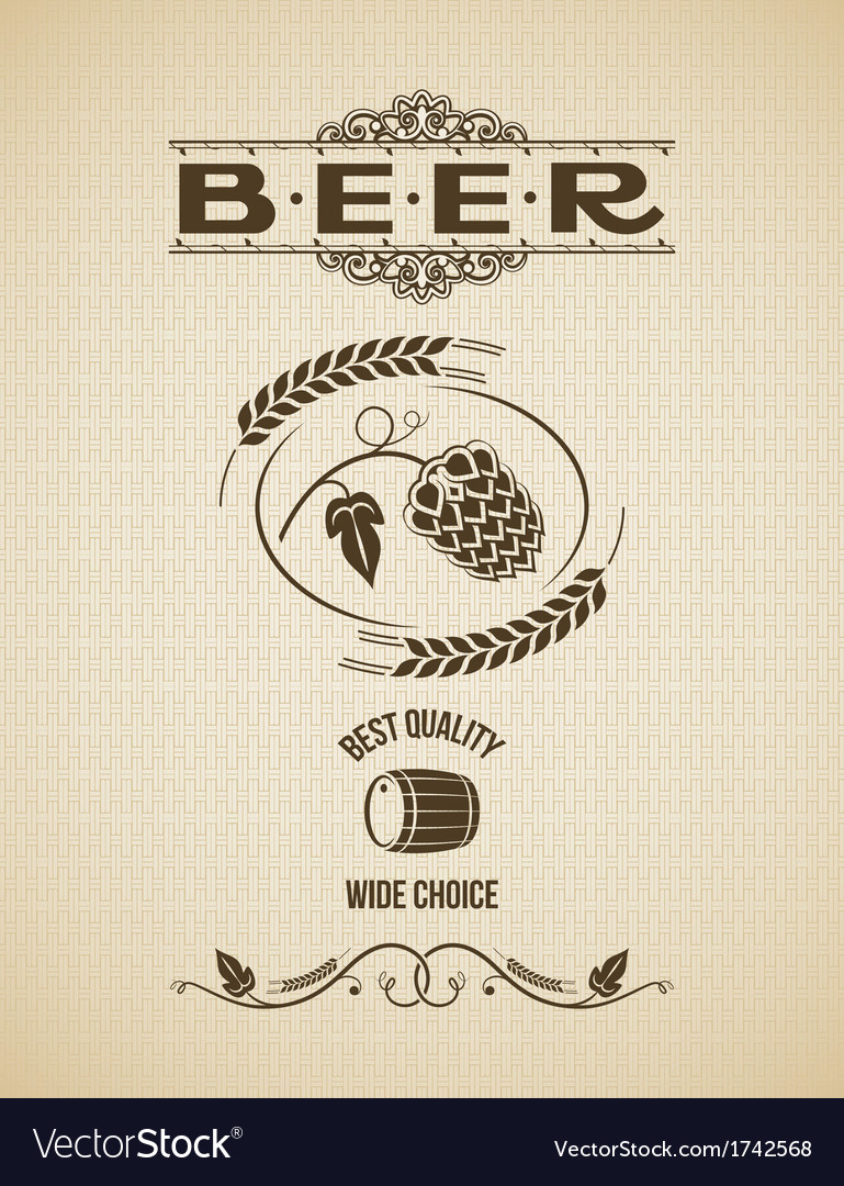 Beer ornate hops design background vector | Price: 1 Credit (USD $1)