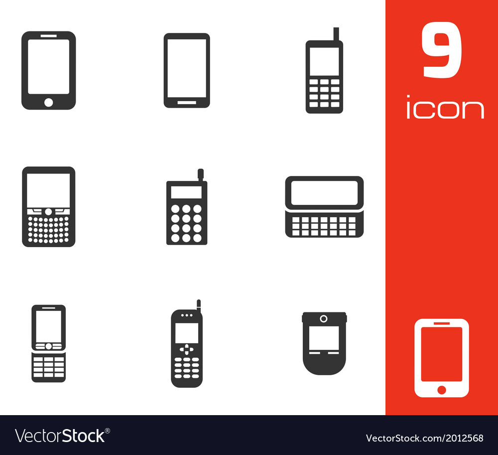 Black mobile phone icons set vector | Price: 1 Credit (USD $1)