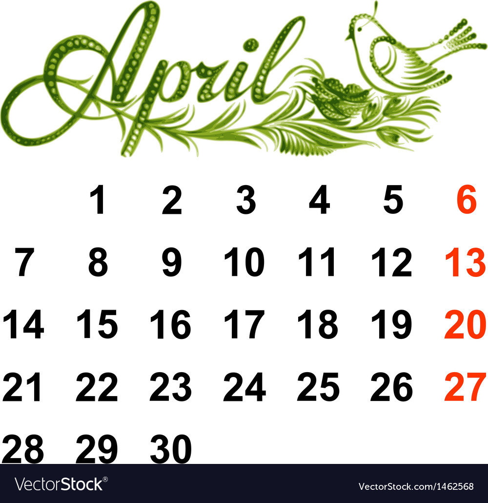 Calendar april 2014 vector | Price: 1 Credit (USD $1)
