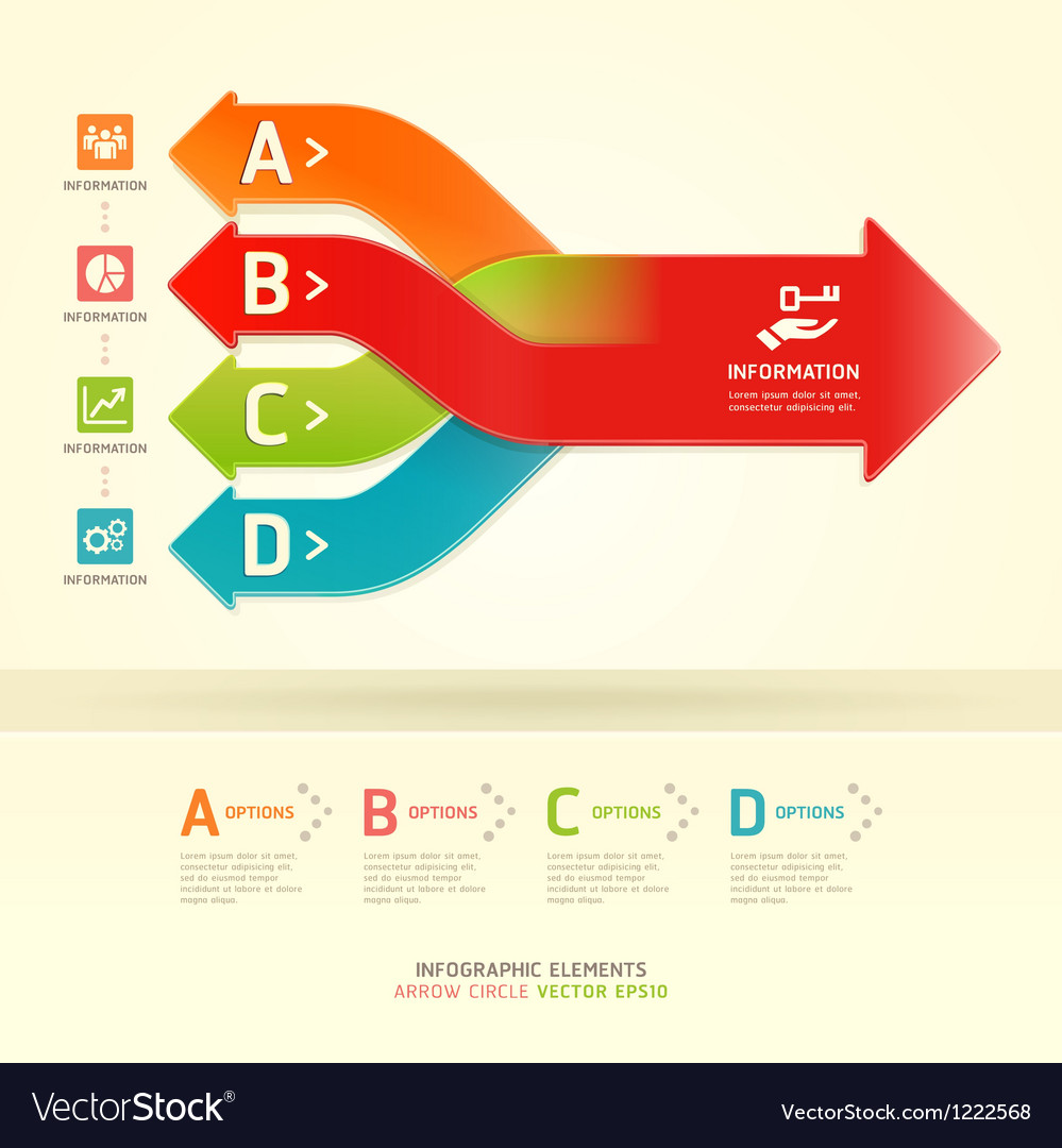 Colorful modern arrow circle number options banner vector | Price: 1 Credit (USD $1)